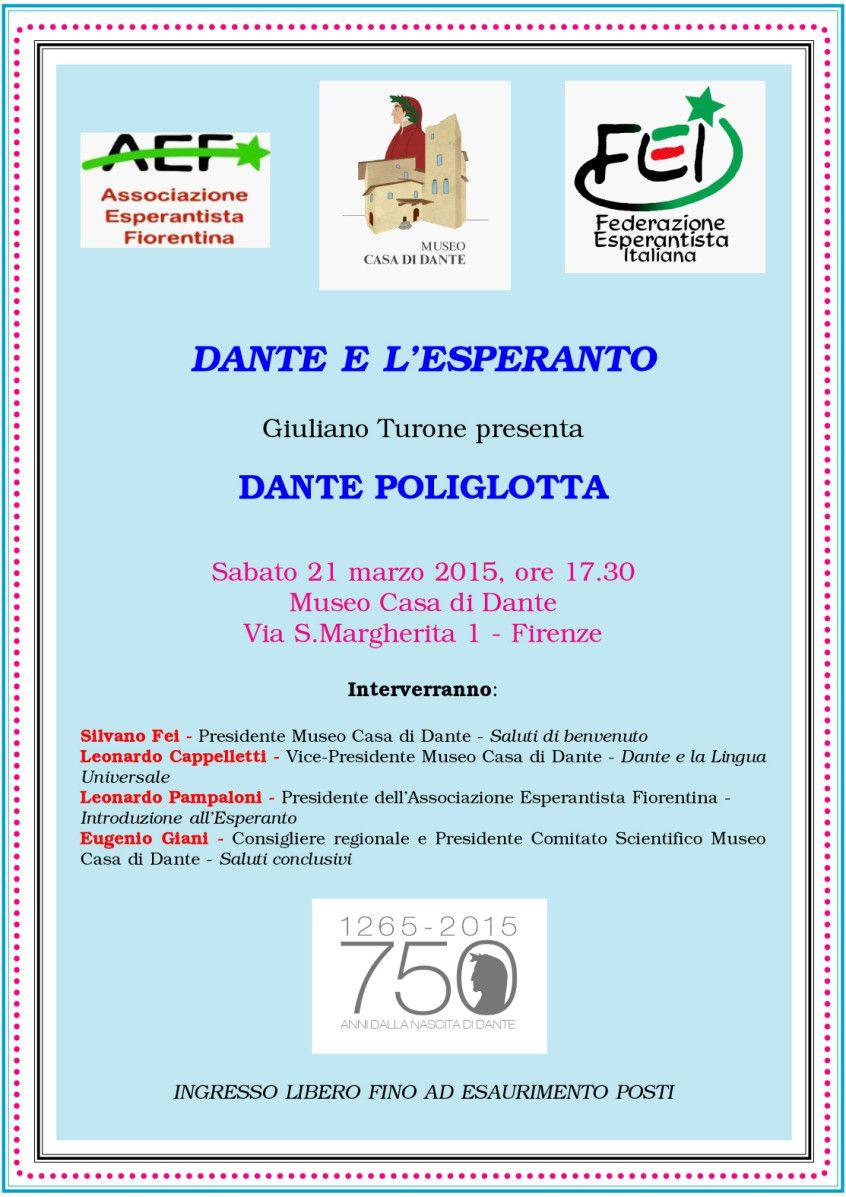 DANTE POLIGLOTTA di GIULIANO TURONE 21 marzo 2015