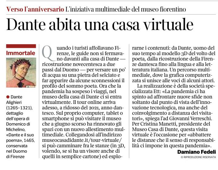 """""""Dante abita una casa virtuale"""" - Il Corriere della Sera"""