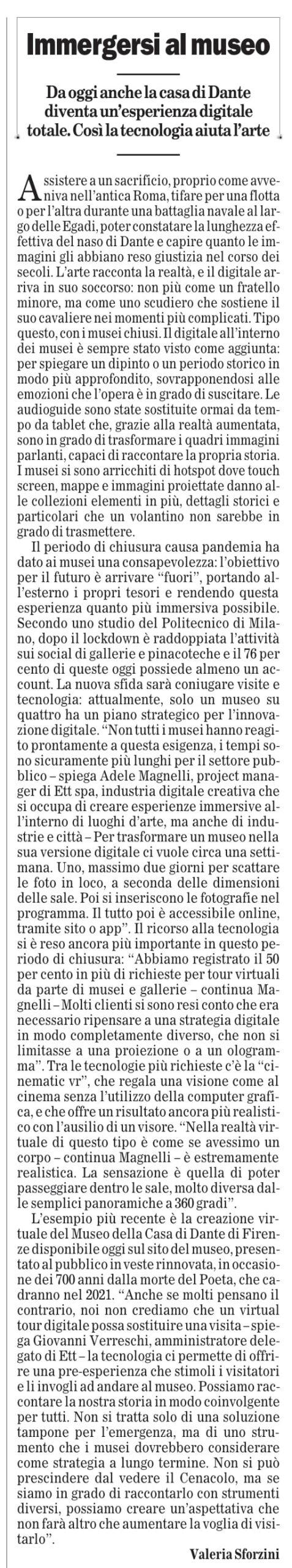 """""""Immergersi al museo"""" - Il Foglio"""