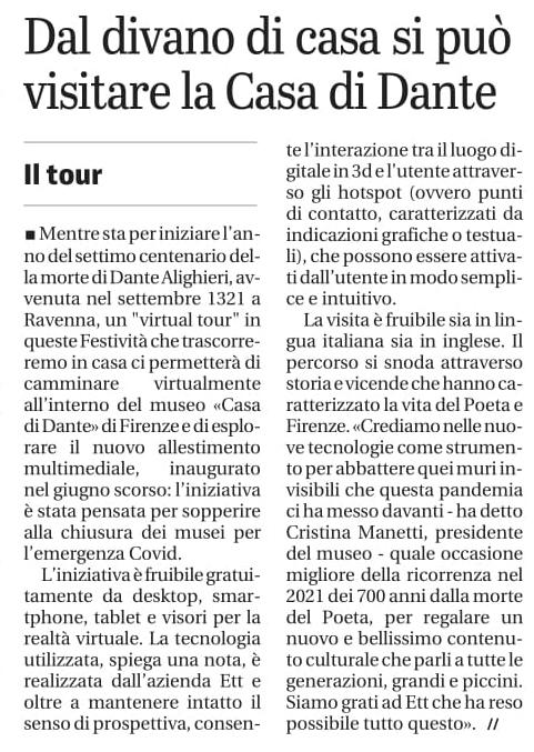 """""""Dal divano di casa si può visitare la casa di Dante"""" - Il Giornale di Brescia"""